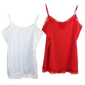 Bundle of 2 RICKI'S Lace Trim Camisoles Size M